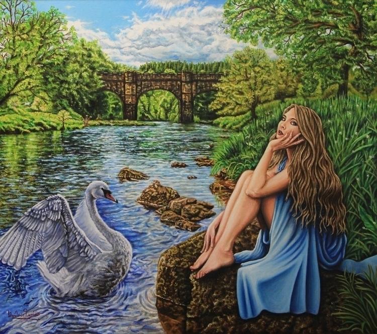 Leda Swan Acrylics Oil canvas - painting - vgiannakos | ello