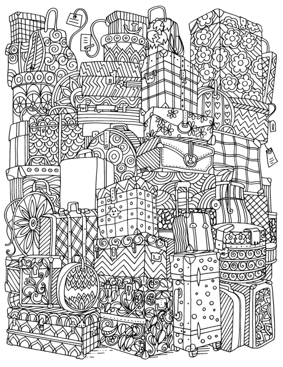 Baggage - illustration, mandala - eu6eni | ello
