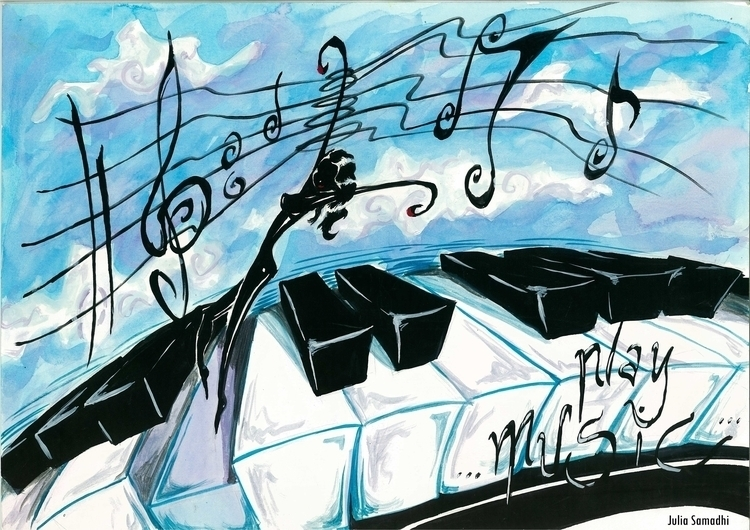 Play Music - watercolour, illustration - juliasirena | ello