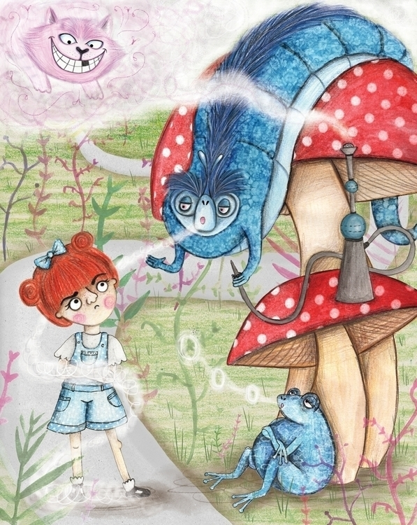 'Alice meets Blue Caterpillar - illustration - robynmakesthings | ello