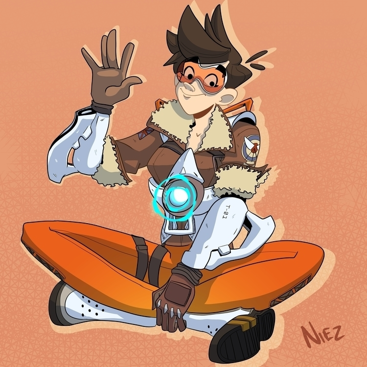 Cheers luv - Tracer, Overwatch, blizzardentertainment - dustlight_ | ello