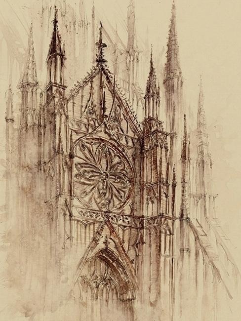 Cathedral - watercolor, watercolour - grimdream | ello