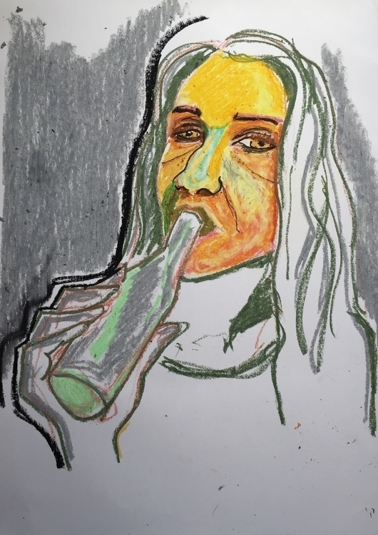 Oil Pastels - illustration, portrait - caspertmoensted | ello