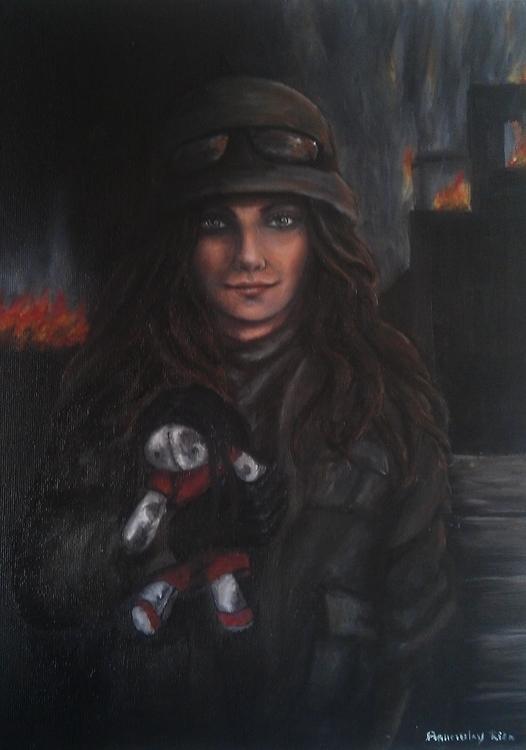 Frontline-oil painting - soldier - spirita | ello
