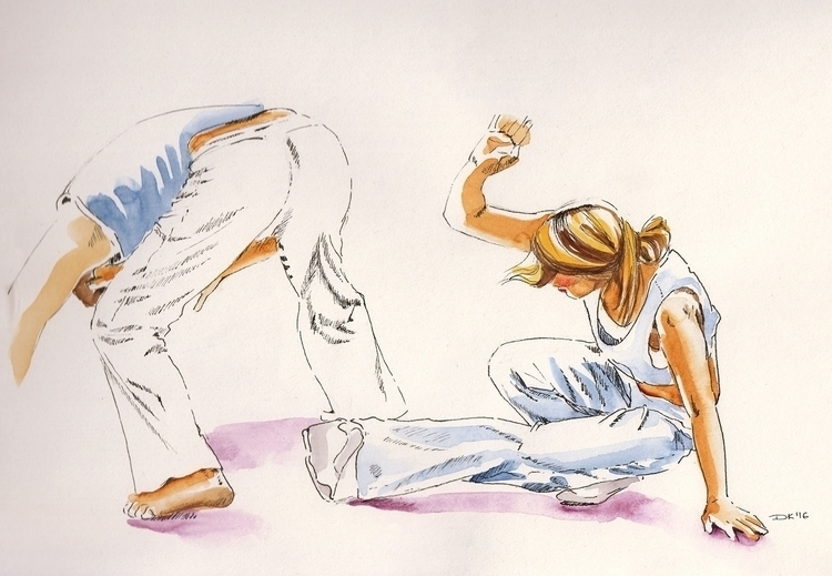 playing capoeira - sketch, sketching - dannyknebel | ello