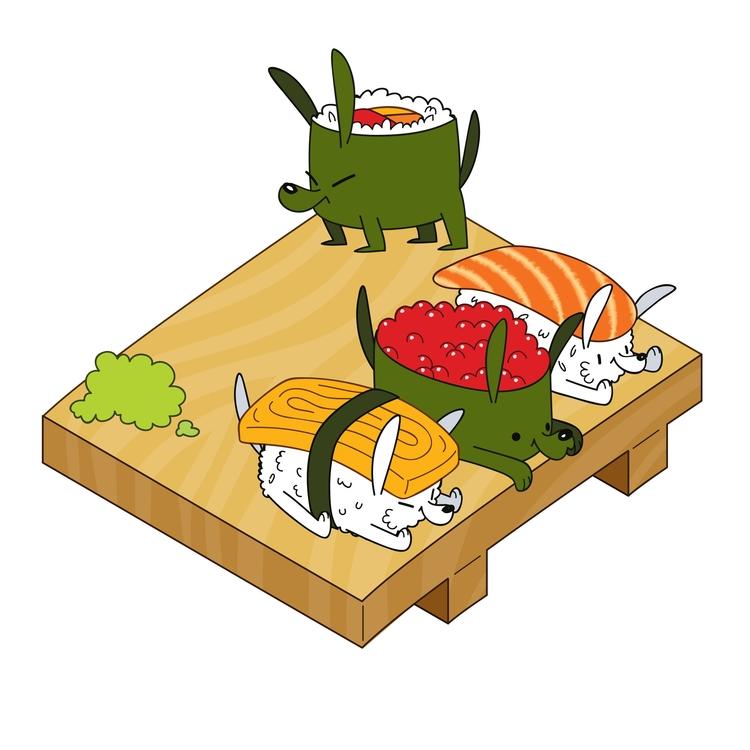 Sushi Dogs - sushi, dog, illustration - kaseythegolden | ello