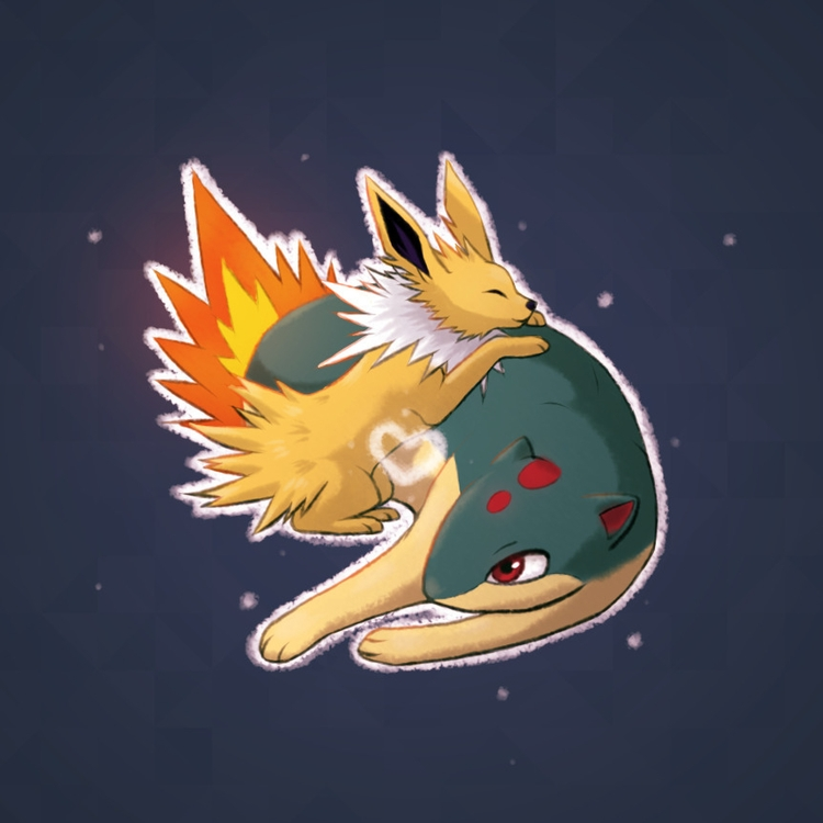 Jolteon Quilava - pokemon, cute - pakutosaur | ello
