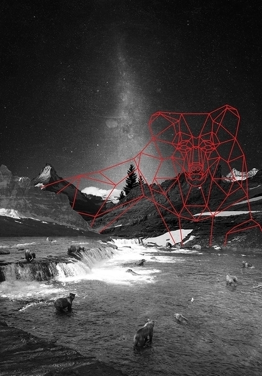 Bear mountain - bear, red, collage - josephwells | ello