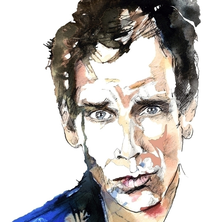 Ben Stiller. Watercolour, ink - ken-1370 | ello