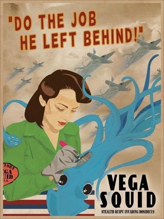 Vega - poster, illustration, squid - daeforshtay   ello