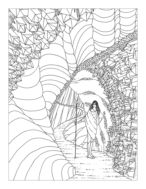 Crystal Cave - coloringpage, crystals - rachelshayne-1154 | ello