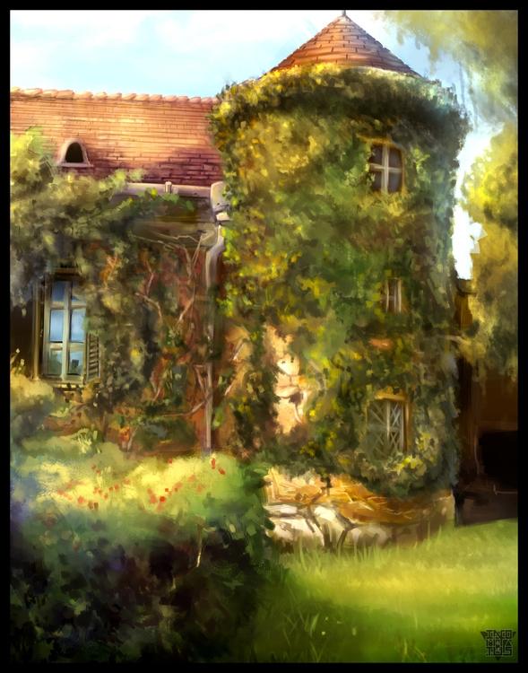 Overgrown mansion - illustration - malthuswolf | ello