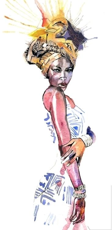 African fashion model. Watercol - ken-1370   ello