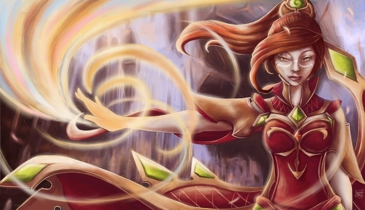 Flame - dota2, Lina, slayer, gameart - variant844 | ello