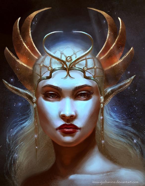 queen, crown, elf, fantasy, illustration - innavjuzhanina | ello