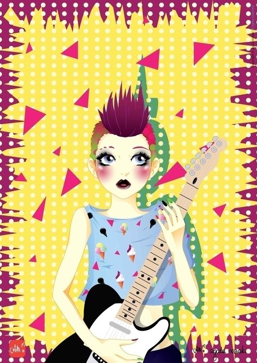 Punk-Rock Girl - guitar, illustration - anozaki | ello