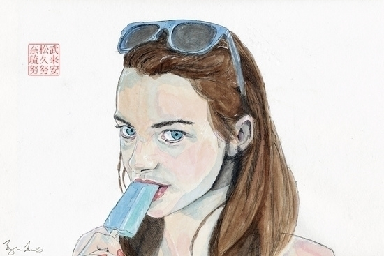 Cool - portrait, watercolor, watercolour - bryanjames-5485 | ello