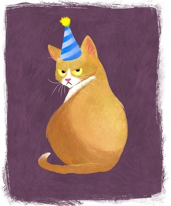 Barney - grumpycat, cat, partyhat - ashleyodell | ello