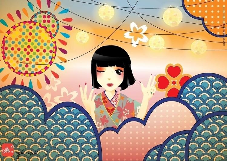 Natsumatsuri - japanese, japan, illustration - anozaki | ello