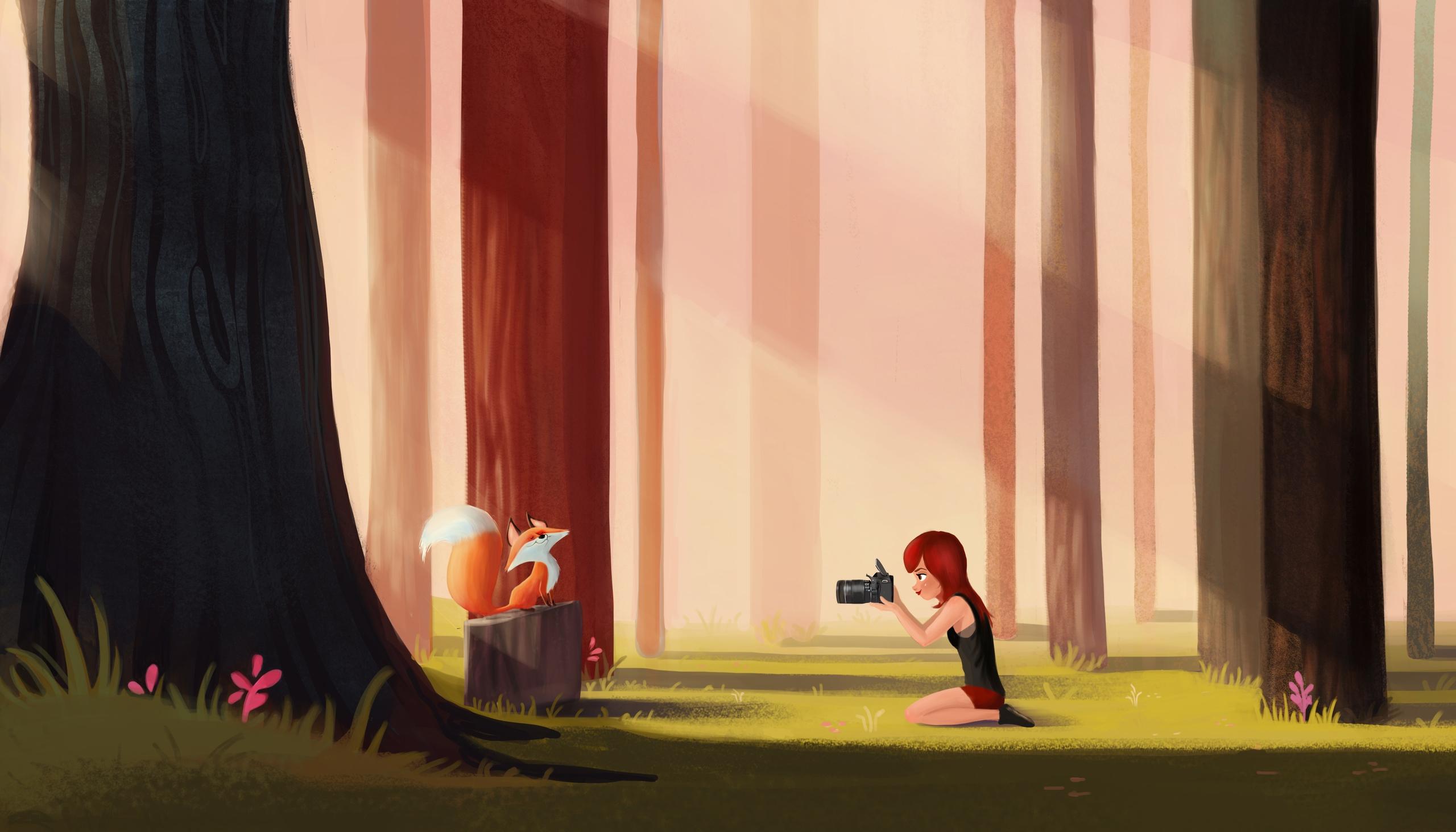 Fox - fox, girl, environment, illustration - ashleyodell | ello