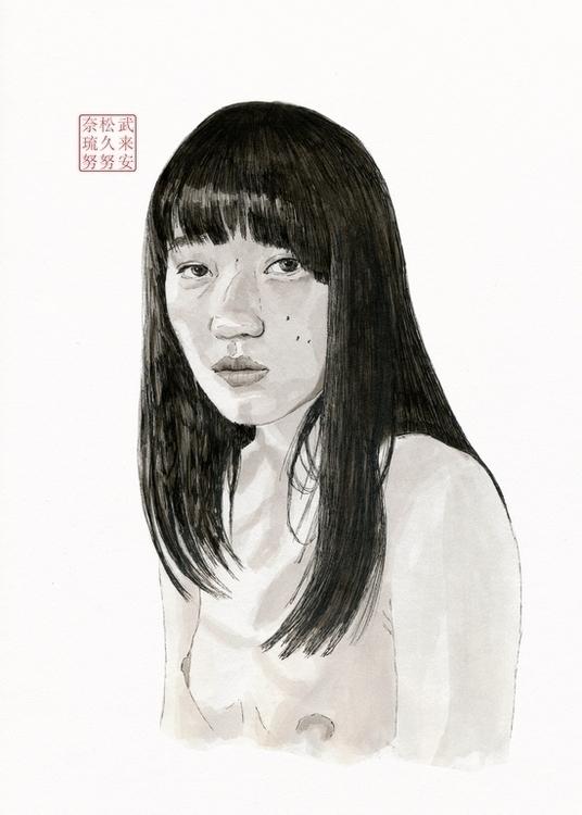 Himiko - portrait, ink, inkdrawing - bryanjames-5485 | ello