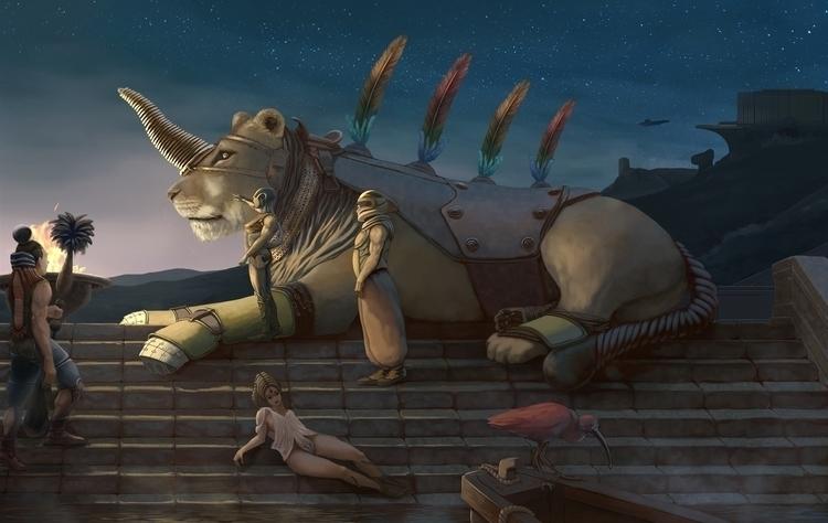 Lemurian Nights - illustration, painting - alecs-1191 | ello