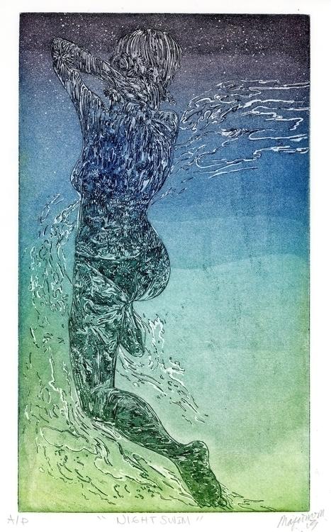 Night Swimmer Etching aquatint  - maquinom | ello