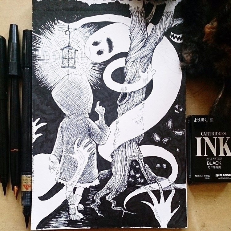 Inktober day 4 - inktober2014, illustration - mairperkins | ello
