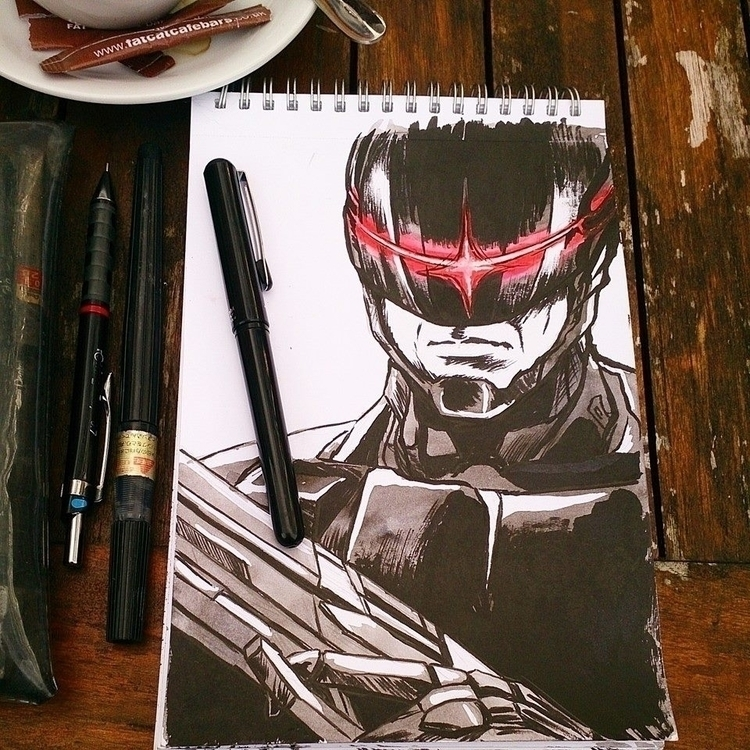 Inktober day 5 - robocop, illustration - mairperkins | ello