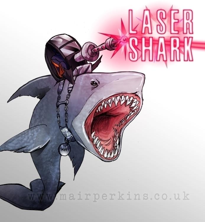 Laser shark - laser, digitalart - mairperkins | ello