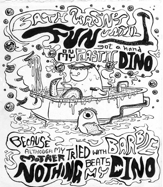 Dino - illustration, penink - kshin | ello