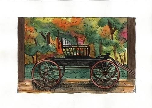 Wagon watercolor pen ink commis - laurencurtis | ello