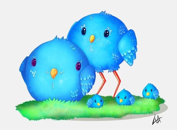 Fat birds Fat - animals, illustration - leassel | ello