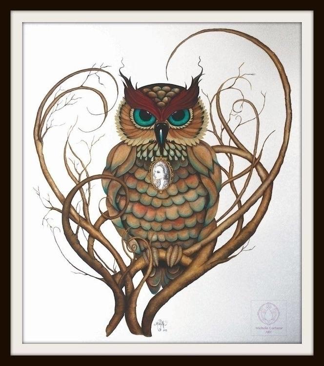 Owl watercolor acrylics - owl, branch - michellecortazar10   ello