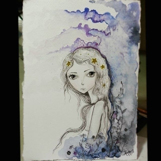 Star Girl watercolor - illustration - michellecortazar10 | ello