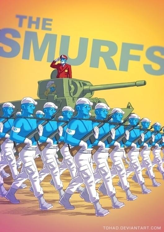 Smurfs - badass, parody, army, blue - tohad | ello