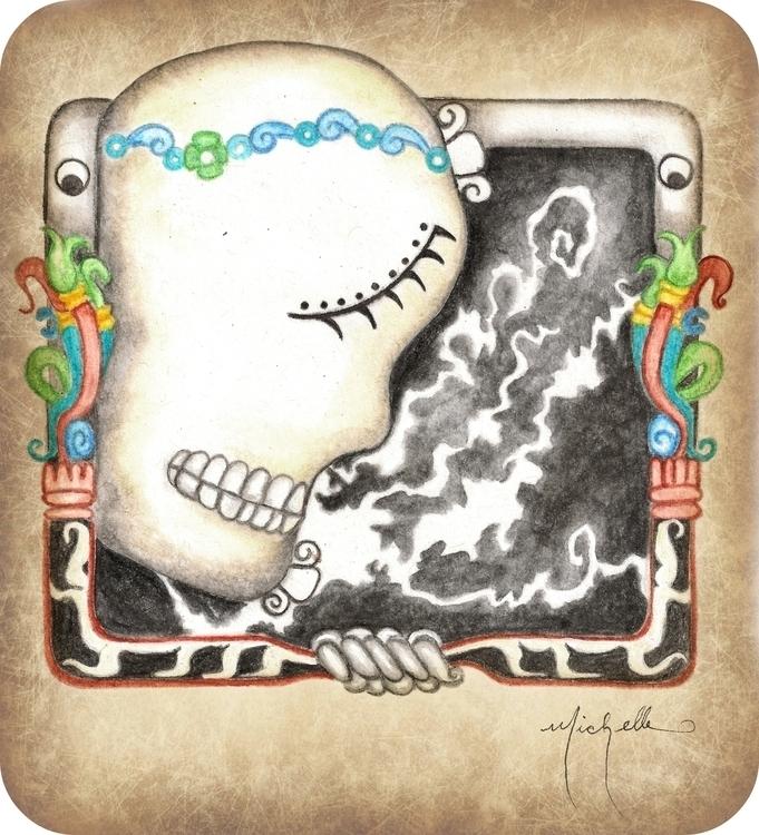 Mayan Glif Death watercolor - illustration - michellecortazar10 | ello