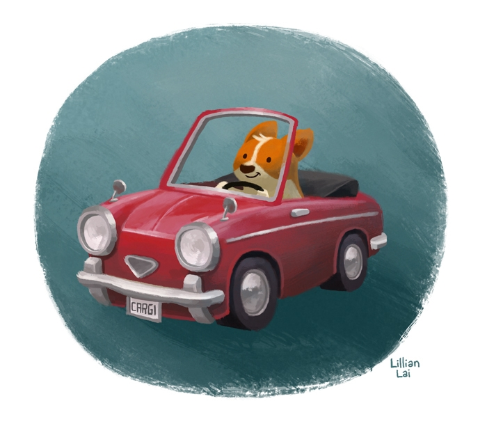 Corgi driving Italian minicar - corgi,dog,minicar,Italian,automobile,car,dogdriving - lillisketch | ello