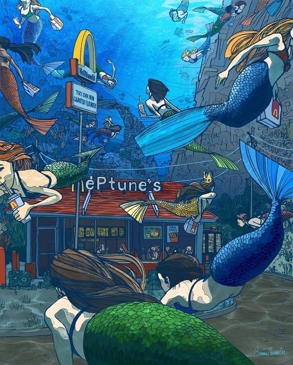 mermaid, fastfood, restaurant - brennathummler | ello