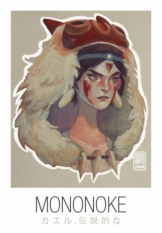 Princess Mononoke - painting, illustration - sapolendario | ello