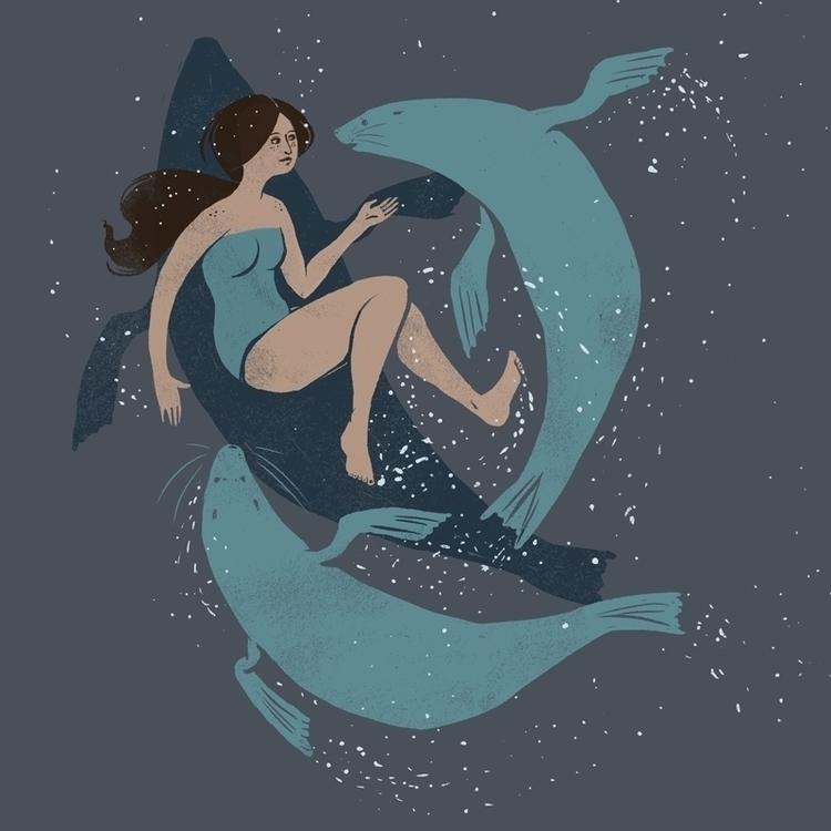 Selkie myth illustration - nautical - louisehubbard | ello