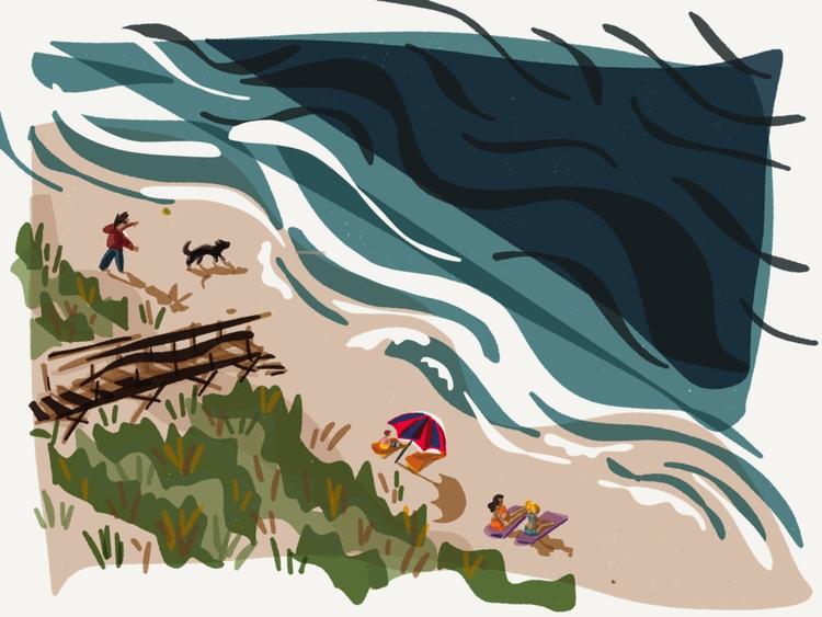 Beach Day - illustration, ipad, sketch - madelinekohm | ello