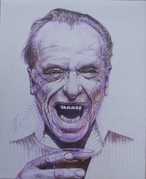 bukowski - drawing, pen - el_compy | ello