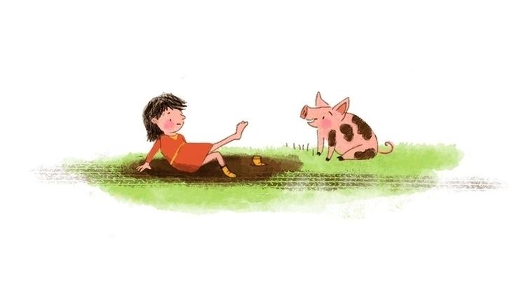 Piglet - pig, children'sillustration - puikeprent | ello