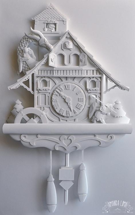 Cuckoo Clock - paper, sculpture - amandalima-5658 | ello