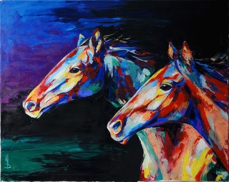 Horses 100-80. Oil canvas, pale - maridein | ello