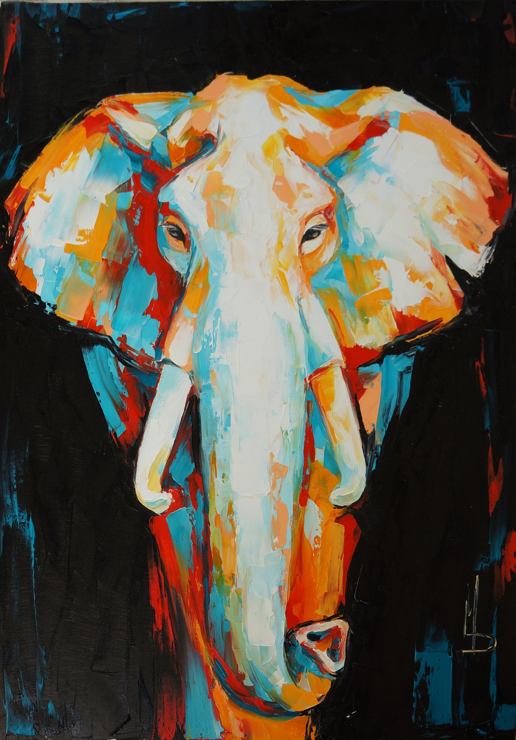 elephant 70-50 oil canvas, pale - maridein | ello
