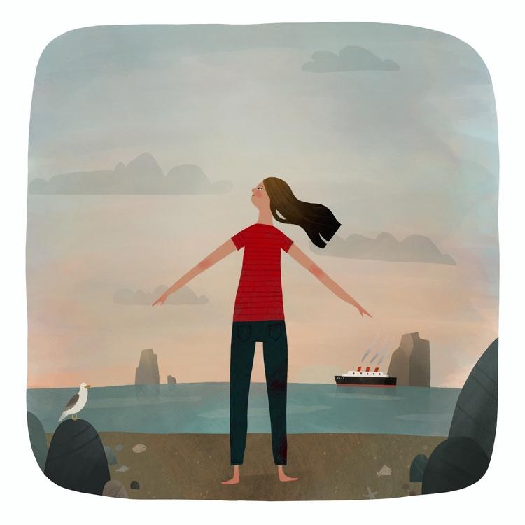 beach - illustration, painting, characterdesign - jaromvogel-8028 | ello
