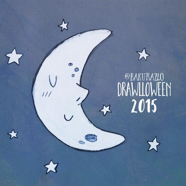 12 - Moon - moon, drawlloween, sketch - clairestamper   ello
