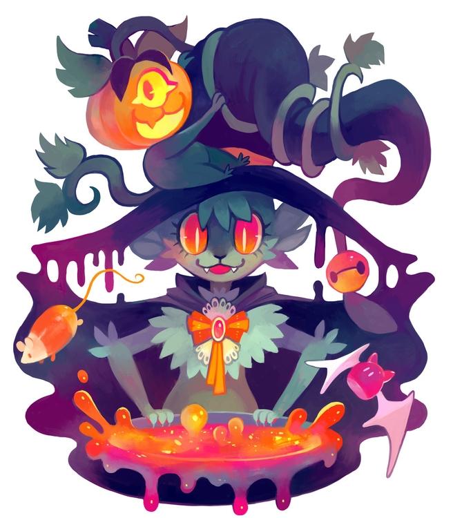 Kitty Cauldron - illustration, floraverse - glitchedpuppet | ello